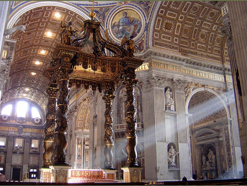 Notice the priest in front of the Altar, how tiny man is in the sight of God!